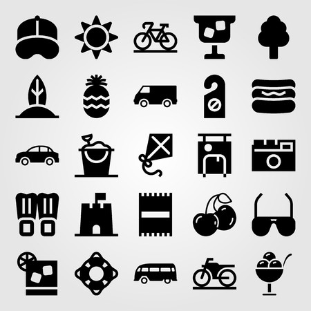 Summertime vector icon set. Flippers, surf, car and bus.  イラスト・ベクター素材