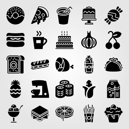 Food and drinks vector icon set. Pizza, meat and ham.