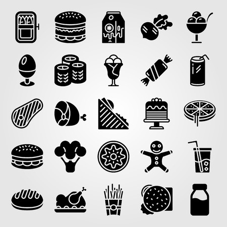 Food and drinks icon set vector. Sandwich, bread, soda and ice cream. Çizim