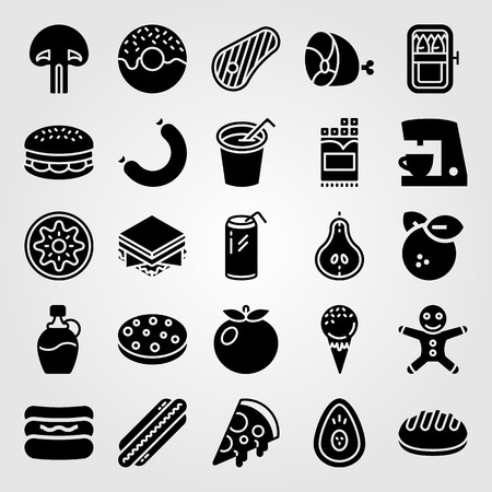 Food and drinks vector icon set. Coffee maker, kiwi, steak and burger. Vectores