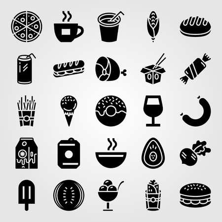 Food And Drinks vector icon set. drink, milk, sausage and meat