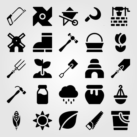 Garden icon set vector. Spade, boots, sun and wheelbarrow.