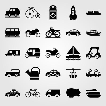 Transport vector icon set. Van, car, taxi and sport bike. Çizim