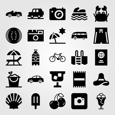 Summertime vector icon set. Sea scooter, swimming pool, photo camera and towel. Çizim