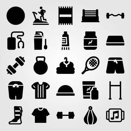 Fitness vector icon set. Sports pants, shakes, ball and pants.