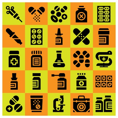Medical icon set vector. Pipette, primacy, pills and medicine.