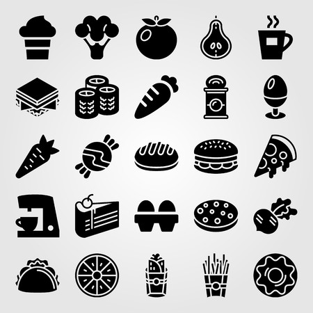 Food and drinks vector icon set. Egg, coffee maker, tomato and coffee cup. Çizim