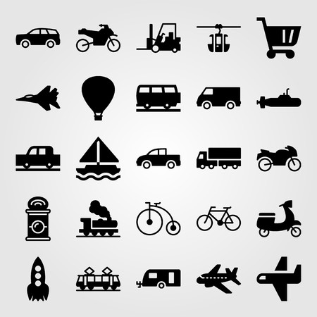 Transport vector icon set. Train, sailboat, cart and cable car cabin. Çizim