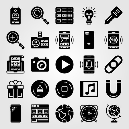 Essentials icon set vector. Browser, laptop, zoom in and earth globe. Illustration