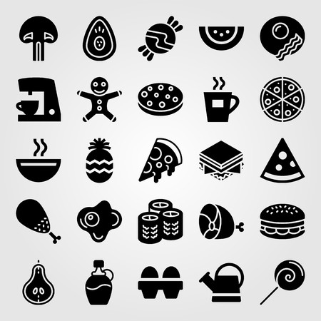 Food and drinks vector icon set. Syrup, soup, pear and can.