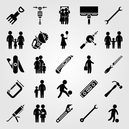 Tools icon set vector. Frame, sealant gun, father and woman with balloon. 向量圖像