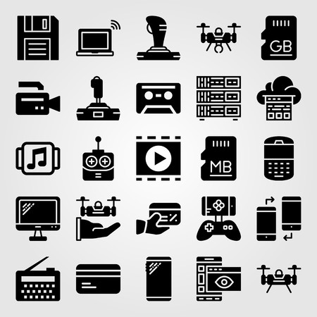 Technology icon set vector. Game controller, video camera, monitor and phone.