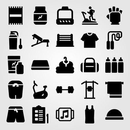 Fitness vector icon set. Ball, shirt, cloth and scale. Vectores