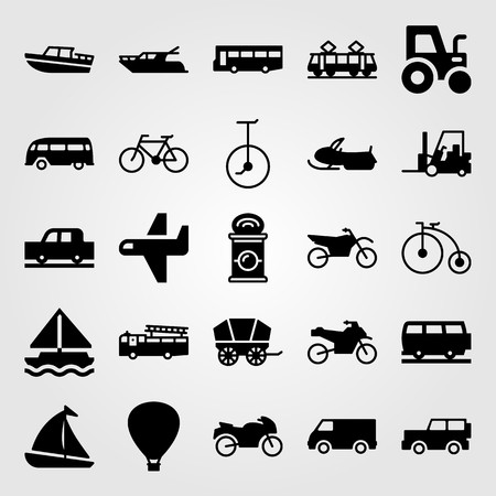 Transport vector icon set. Sport bike, van, sailboat and yacht.