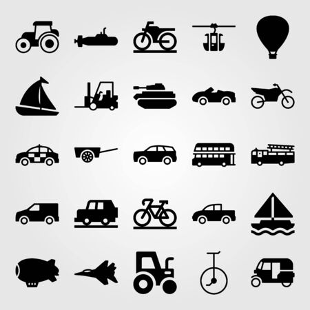 Transport vector icon set. Unicycle, sport car, sport bike and car. Stok Fotoğraf - 94237705