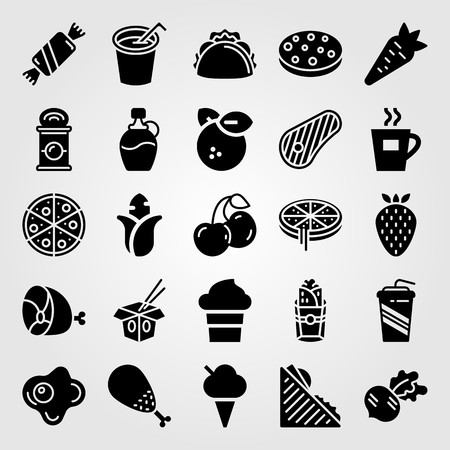 Food and drinks vector icon set. Corn, syrup, meat and ice cream.