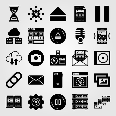 Essentials icon set vector. Browsers, settings, browser and mail.