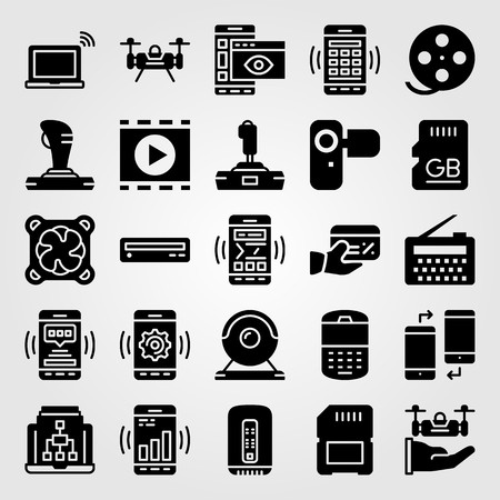 Technology vector icon set. Phone, webcam, credit card and laptop.