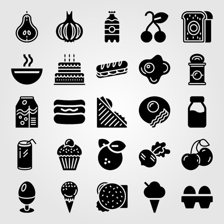 Food and drinks vector icon set. Pear, birthday cake, soup and can.