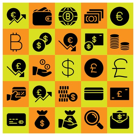 Money icon set vector. dollar, money, bag and wallet