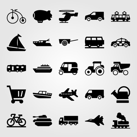 Transport vector icon set. Shopping cart, car, yacht and jet. Vettoriali