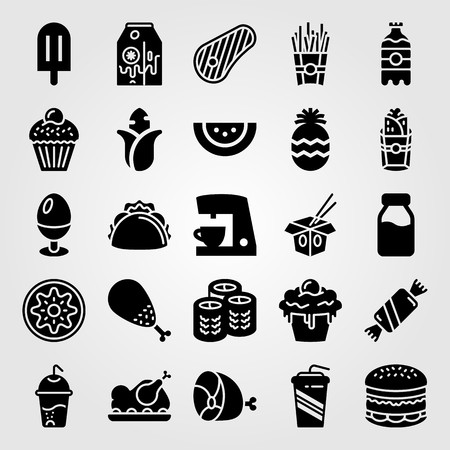 Food and drinks vector icon set. Corn, taco, steak and soda. Illustration