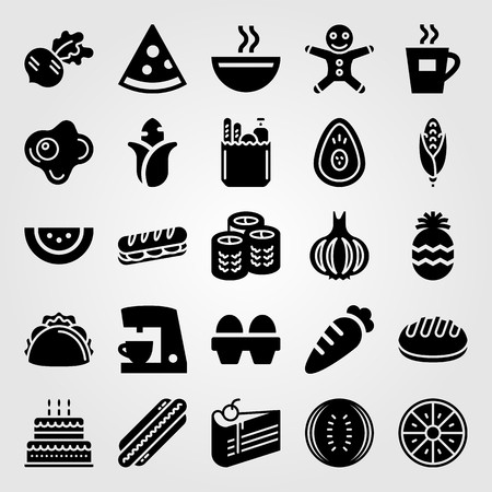 Food And Drinks vector icon set. coffee maker, avocado, piece of cake and carrot Çizim