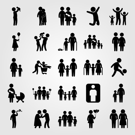 Humans icon set vector. mother with son, mother and son, baby and people hugging