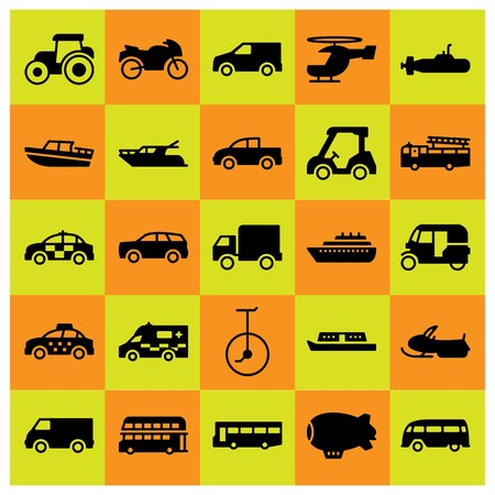 Transport icon set vector. fire truck, taxi, truck and bus
