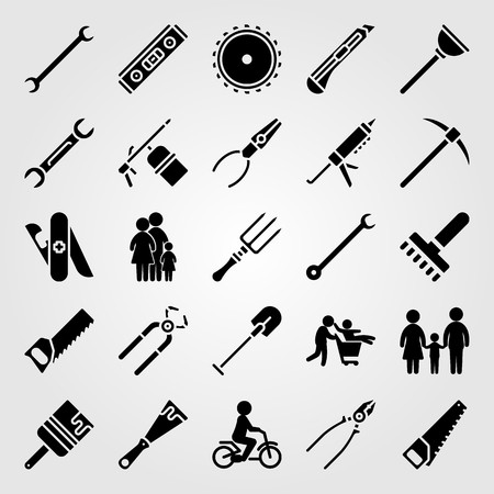 Tools icon set vector. shovel, level, paint brush and plunger