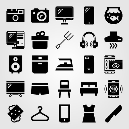 Shopping vector icon set. pc, dress, boxers and bed Иллюстрация