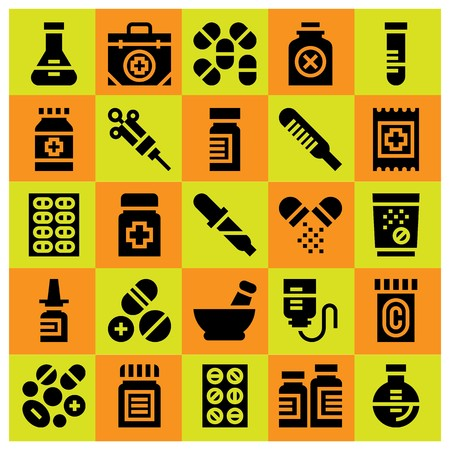 Medical icon set vector. tube, medicine, aid and pipette