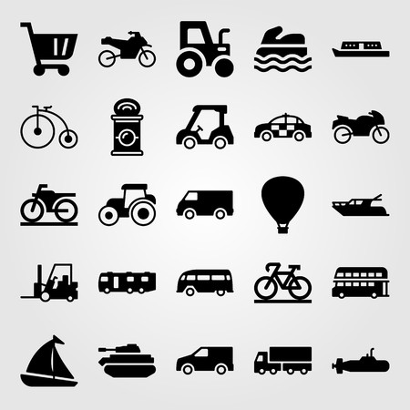 Transport vector icon set. can, air balloon, hot air balloon and truck Vettoriali