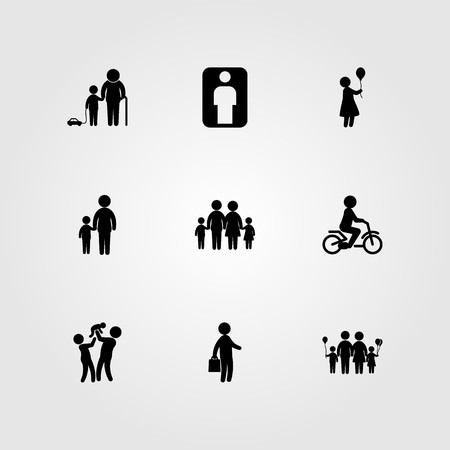 Humans icon set vector. man, woman, father and baby Иллюстрация