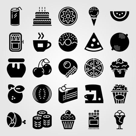 Food And Drinks vector icon set. ham,  kiwi and coffee maker