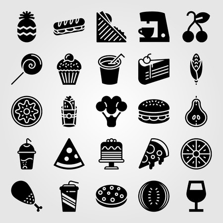 Food And Drinks vector icon set. pizza, cake, piece of cake and broccoli