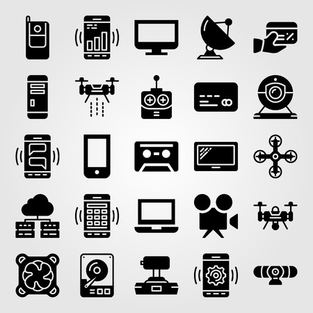 Technology vector icon set. joystick, webcam, satellite and cassette