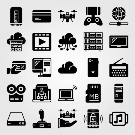 Technology vector icon set tablet router smartphone and web technology vector icon set tablet router smartphone and web stock vector 94238577 keyboard keysfo Image collections