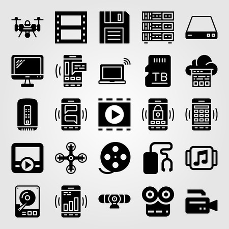 Technology icon set vector. hhd, monitor, pc and smartphone Vectores