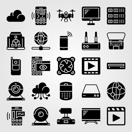Technology icon set vector. server, cooler, cellphone and movie player Ilustração