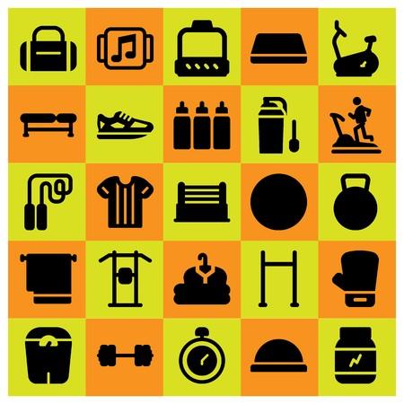 Fitness pictogrammenset vector. waterkoker bell, handschoen, boksen en loopschoenen