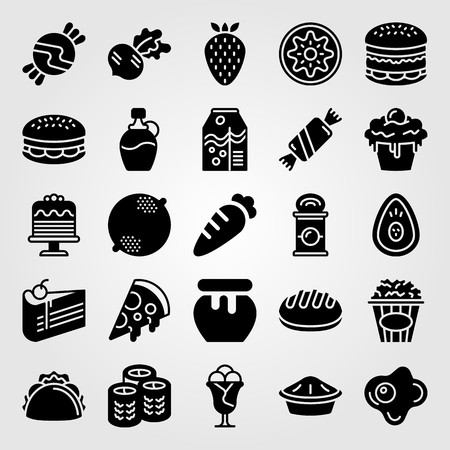 Food And Drinks icon set vector. strawberry, carrot, bread and radish