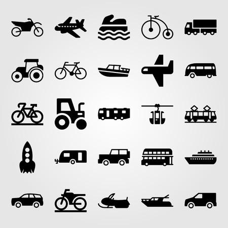 Transport vector icon set. airplane, caravan, sport bike and motorcycle