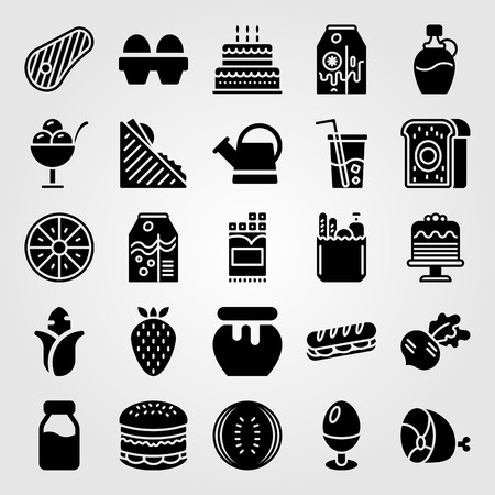 Food And Drinks icon set vector. radish, egg, sandwich and chocolate