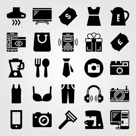 ショッピングベクトルアイコンセット。ヘッドフォン、コーヒーメーカー、ブラジャー、パソコン  イラスト・ベクター素材