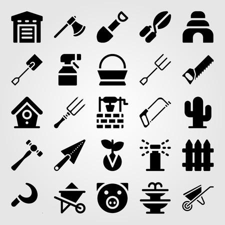 Tuin pictogrammenset vector. sikkel, vork, schop en handzaag