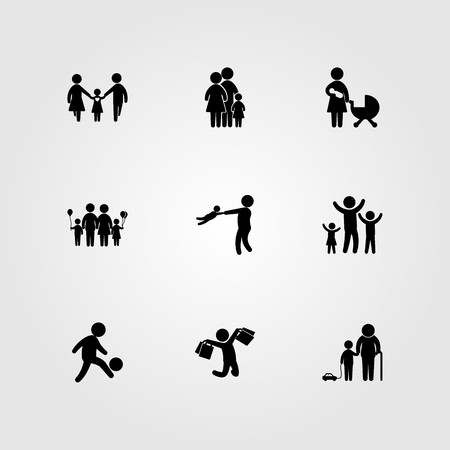 Humans icon set vector. dad, children, mother and man