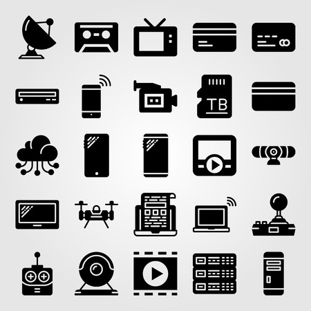 Technology vector icon set. cassette, sd card, tv and server Illustration