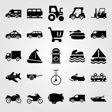 Transport vector icon set. shopping cart, forklift, airplane and yacht