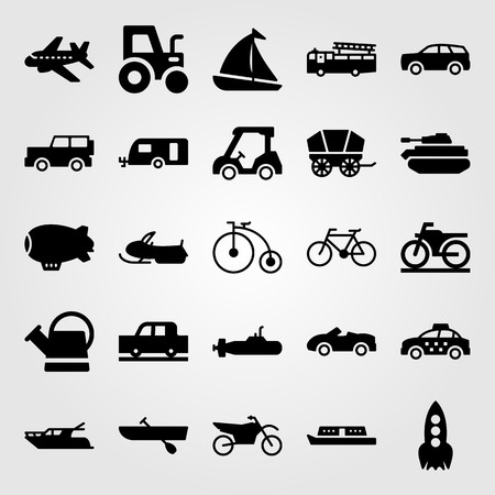 Transport vector icon set. truck, sport bike, tractor and sport car Vettoriali